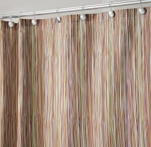 "mDesign Thin Stripe Fabric Shower Curtain, 72"" x 72"" - Earthtone Multi"