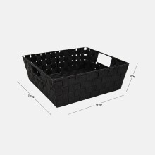 Large Woven Storage Shelf Bin - Set of 2 - Black