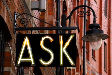 ask, question, neon, sign, city