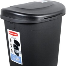 Rubbermaid Step-On Wastebasket Trash Can, 13-Gallon, Metal-Accent Black, 1843029