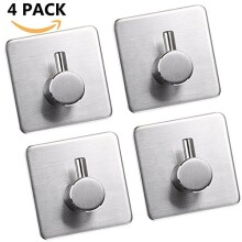3M Self Adhesive Hooks, 304 Stainless Steel Closets Coat Towel Robe Hook Rack Wall Mount for Bathroom and Lavatory by JISIMI (4 Pack)