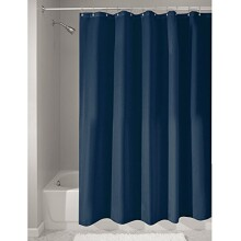 InterDesign Mildew-Free Water-Repellent Fabric Shower Curtain, 72-Inch by 72-Inch, Navy