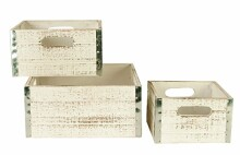 Wald Imports Whitewash Wood Decorative Crates, Set of 3